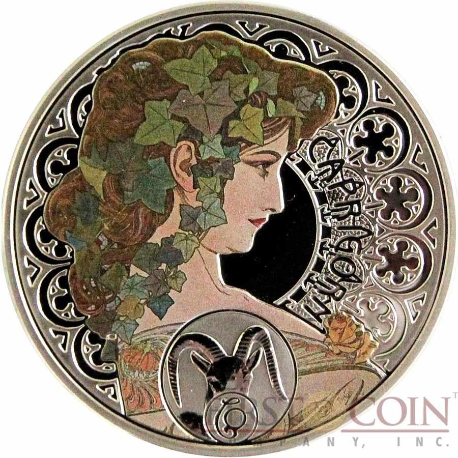 Niue Island Capricorn $1 Painter Alphonse Mucha Zodiac Series