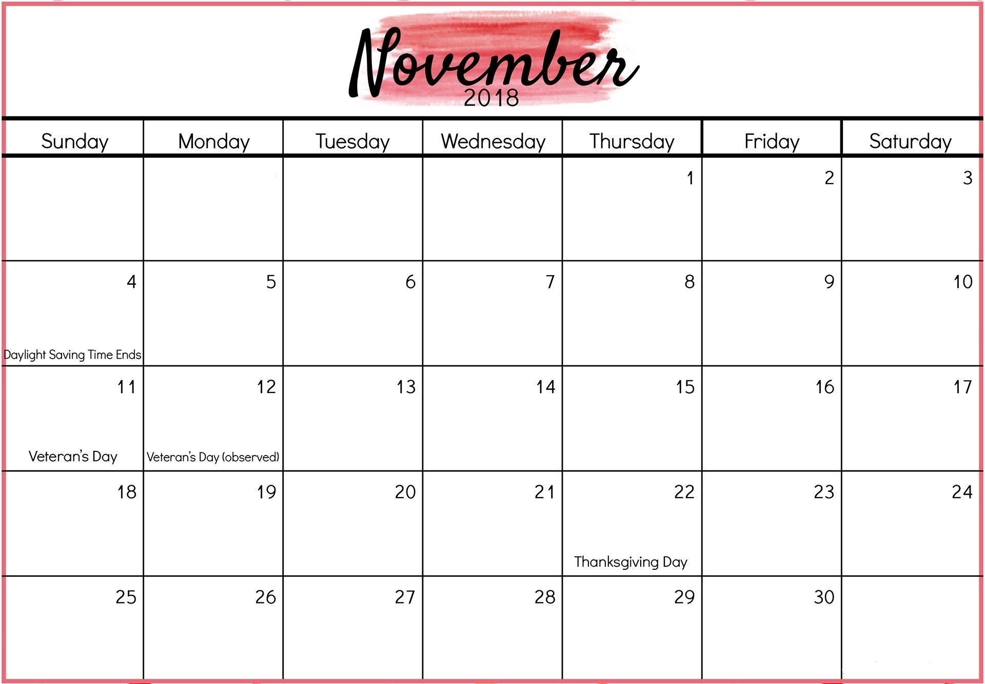November 2018 Calendar Printable Planner | Blank November 2018