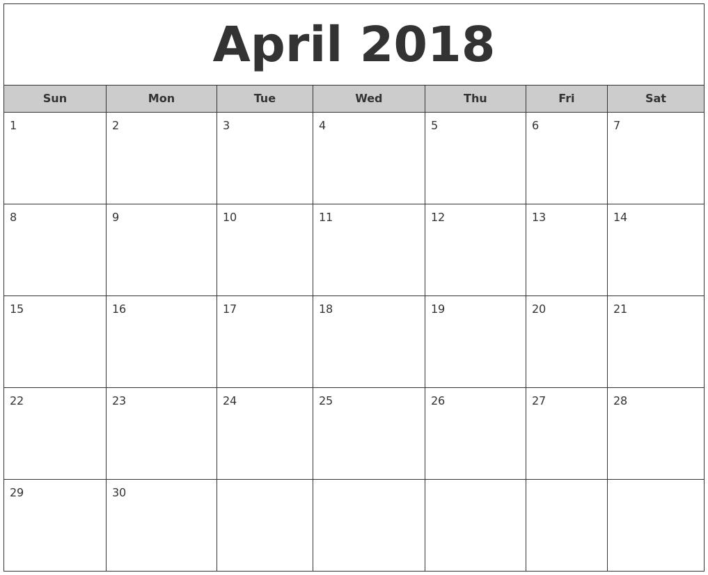November 2018 Calendar With Holidays Usa — April Calendar 2018