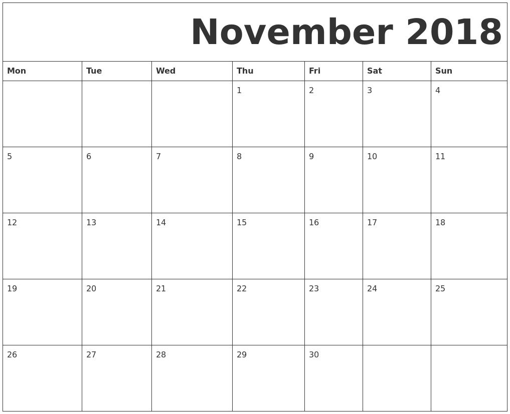 November 2018 Free Printable Calendar