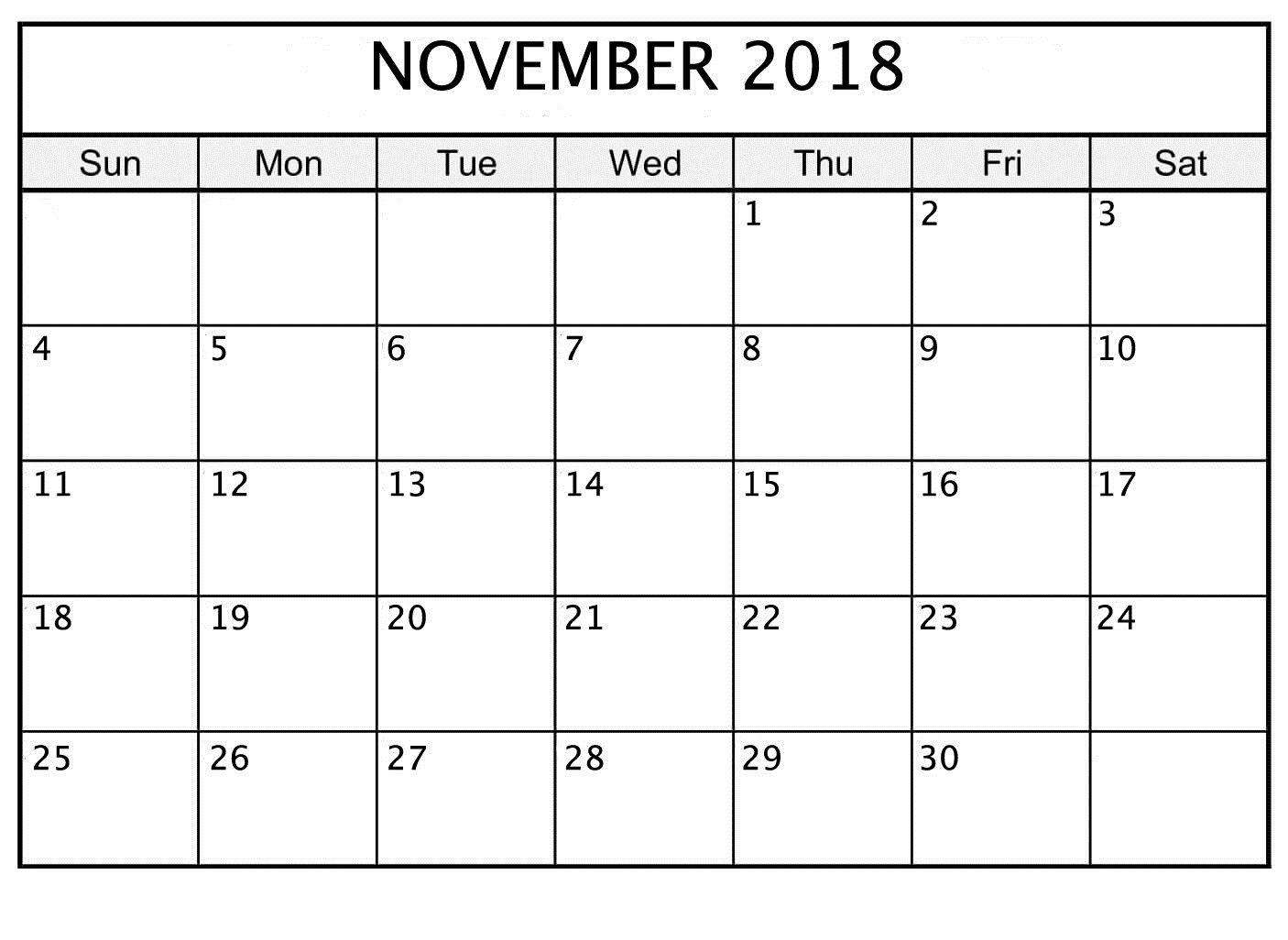 November 2018 Printable Calendar Date And Time   November 2018