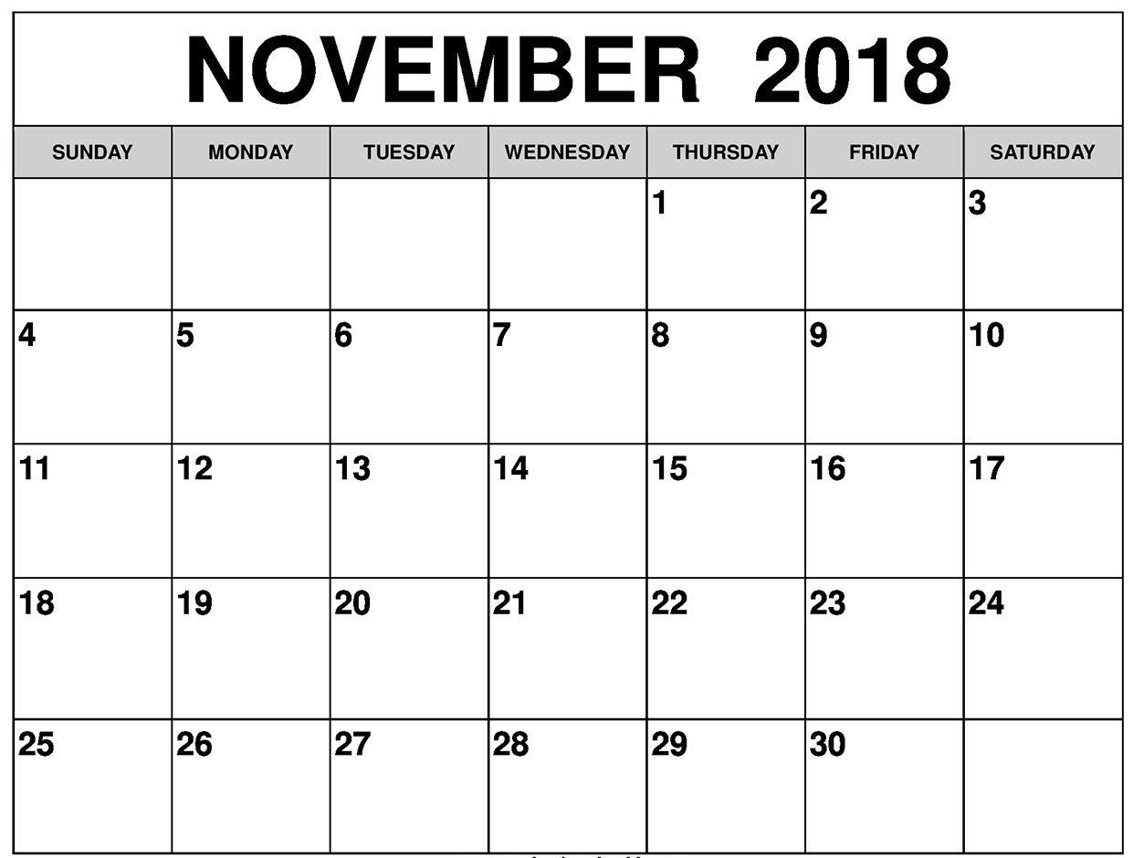 November 2018 Printable Calendar Free - Office Letter, Template