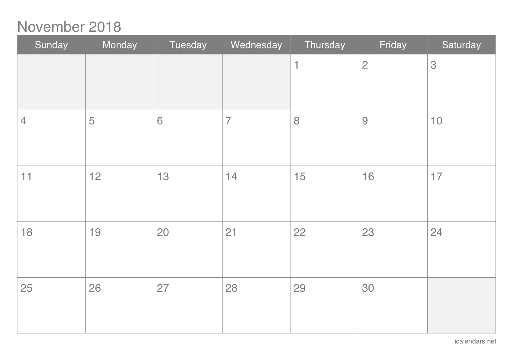 November 2018 Printable Calendar - Icalendars