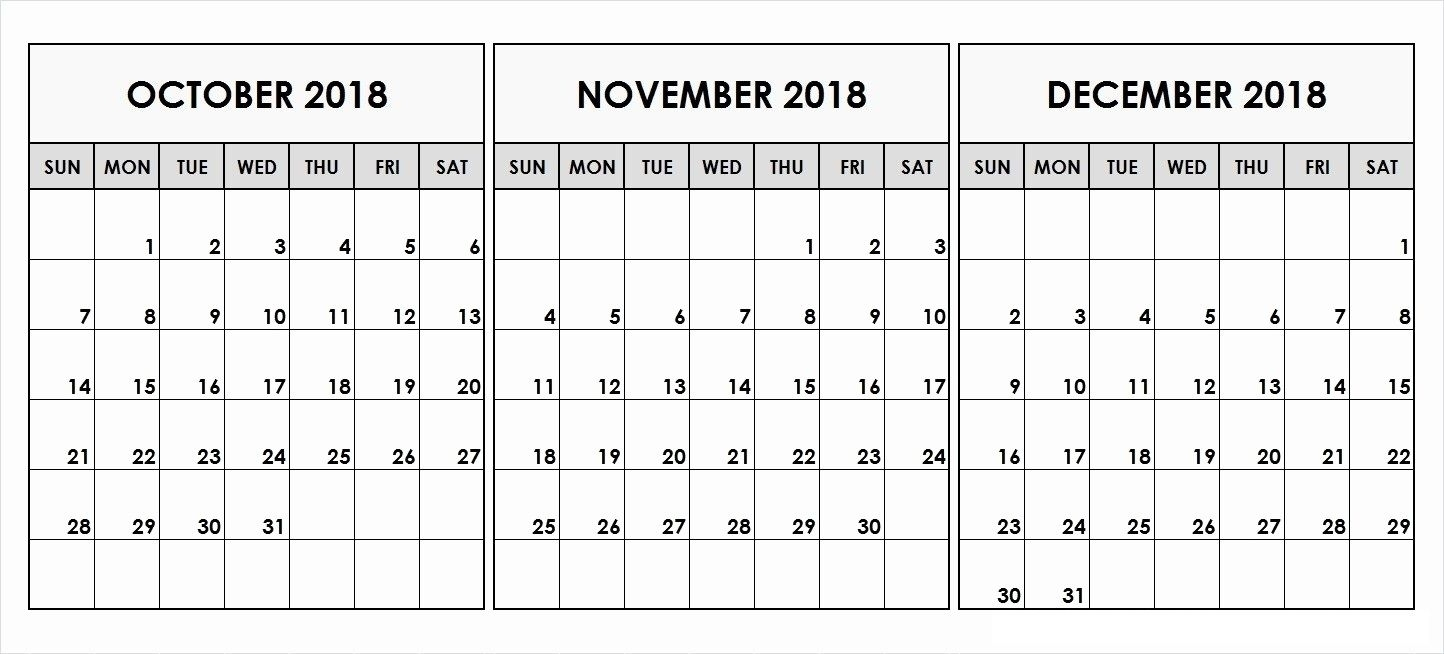 October And November 2018 Calendar Printable | October 2018 Blank