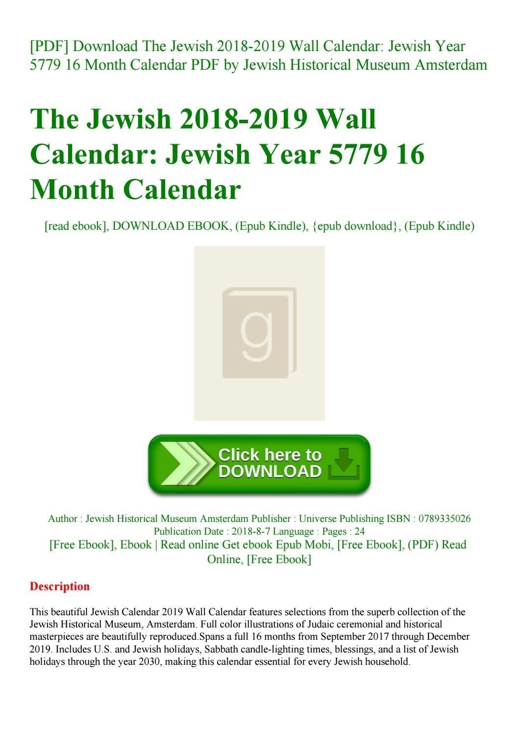 Pdf] Download The Jewish 2018-2019 Wall Calendar Jewish Year 5779 16