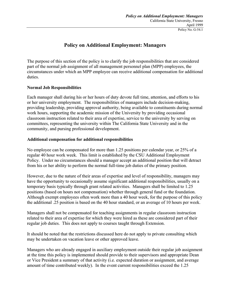 Policy On Additional Employment: Managers