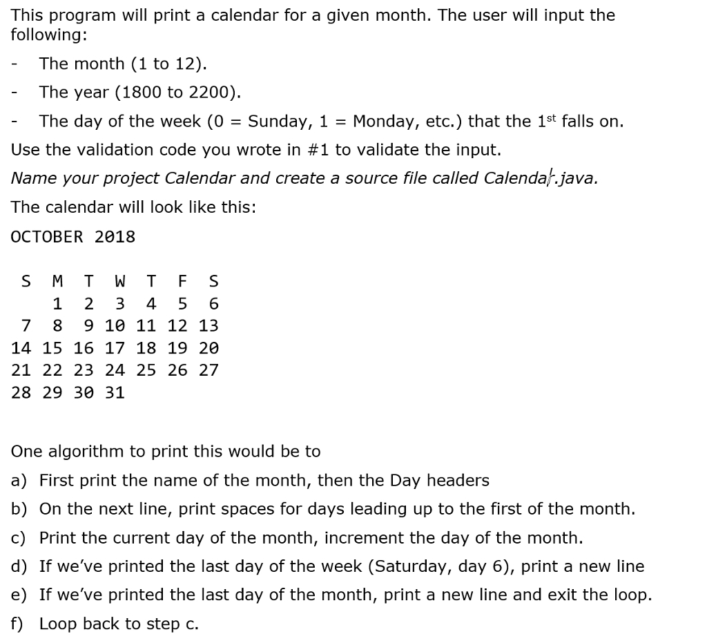 Print Calendar Using Java | Ten Free Printable Calendar 2019-2020
