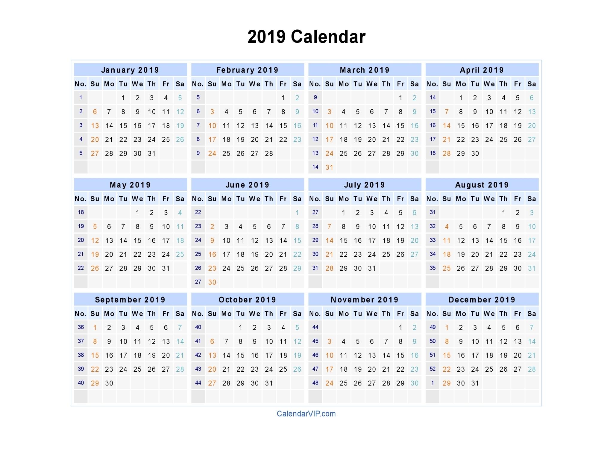 Printable Calendar 2019 With Week Numbers | Printable Calendar 2019