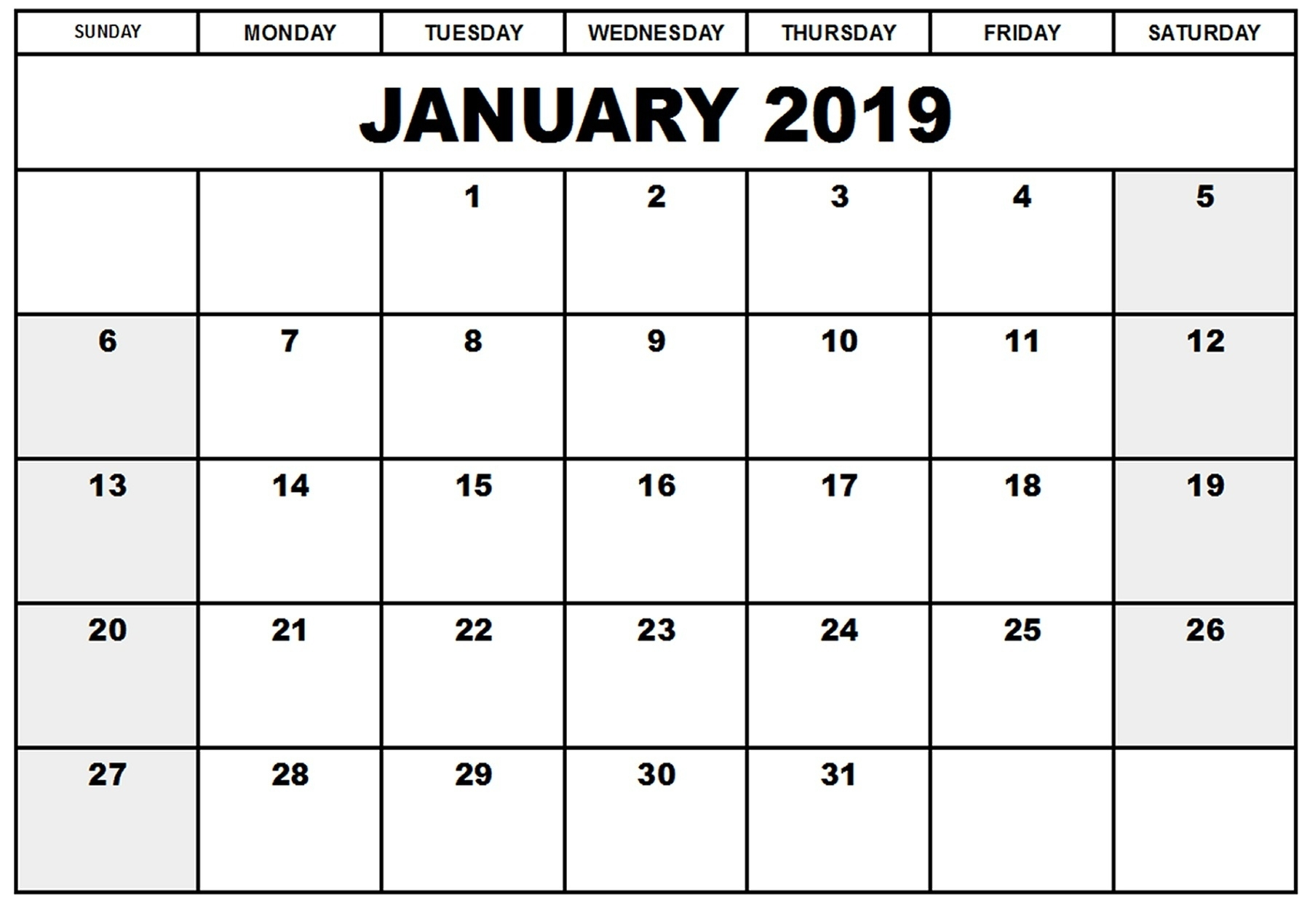 Printable Calendar January 2019 Free Template – Printable 2018