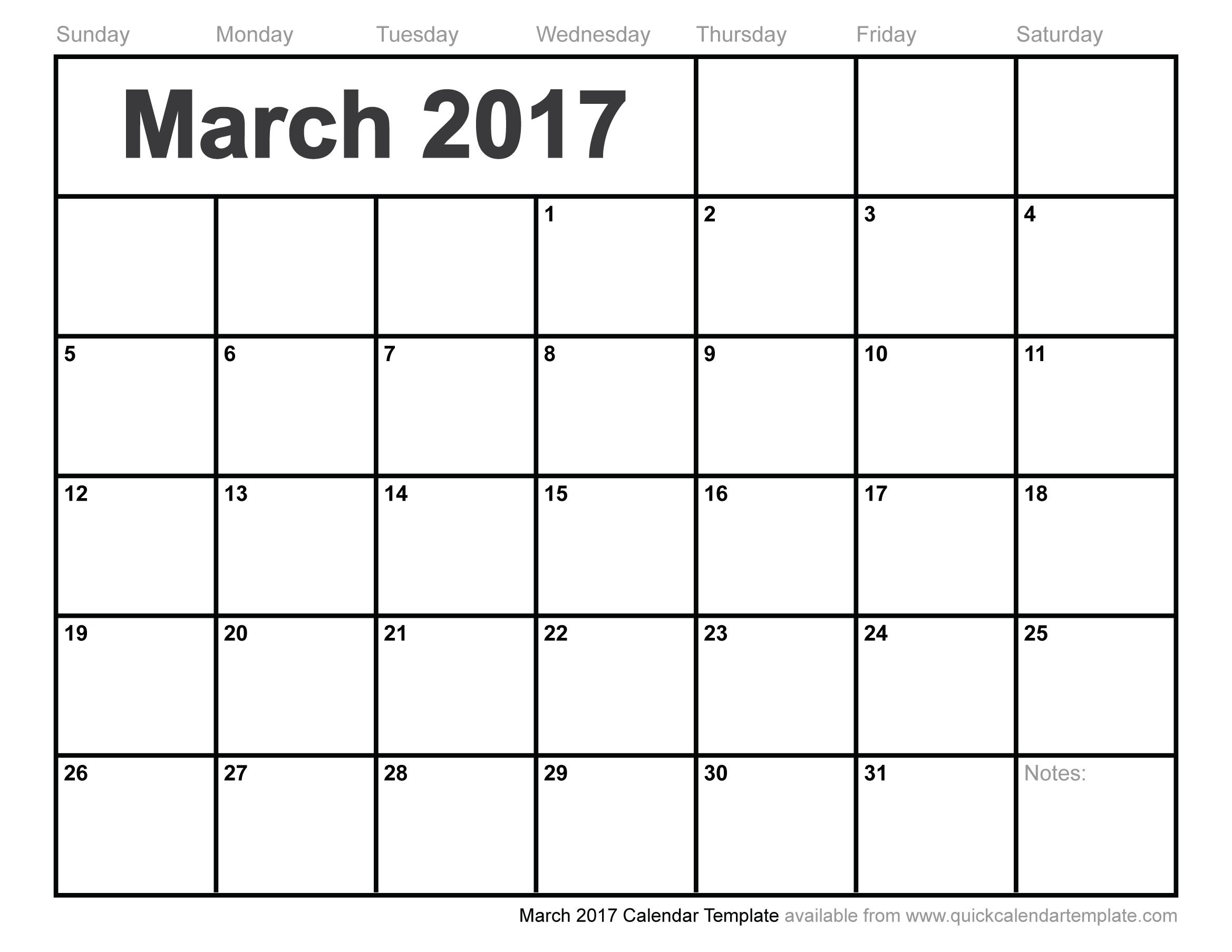 Printable Calendar March 2017 - Printable Calendar & Birthday Cards