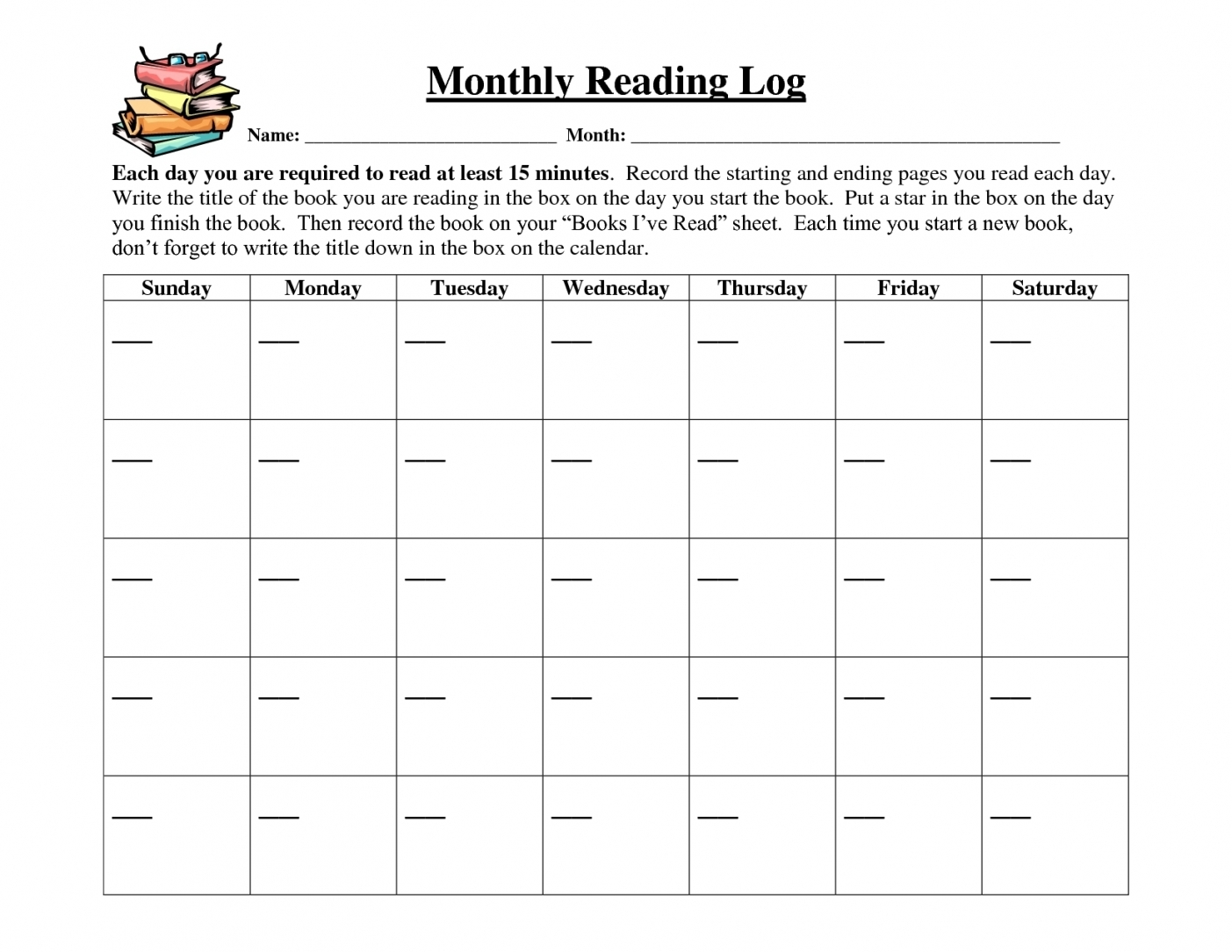 Printable Calendar Reading Logs | Printable Calendar 2019