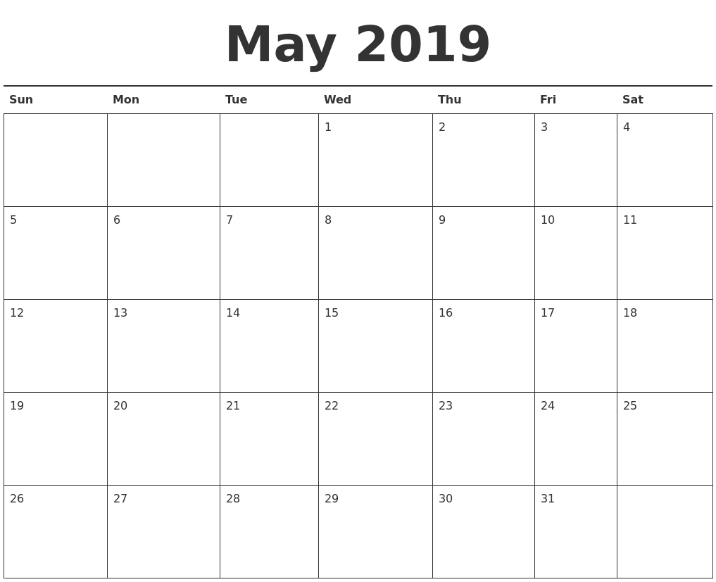 Printable May 2019 Calendar Landscape And Vertical - Free Printable