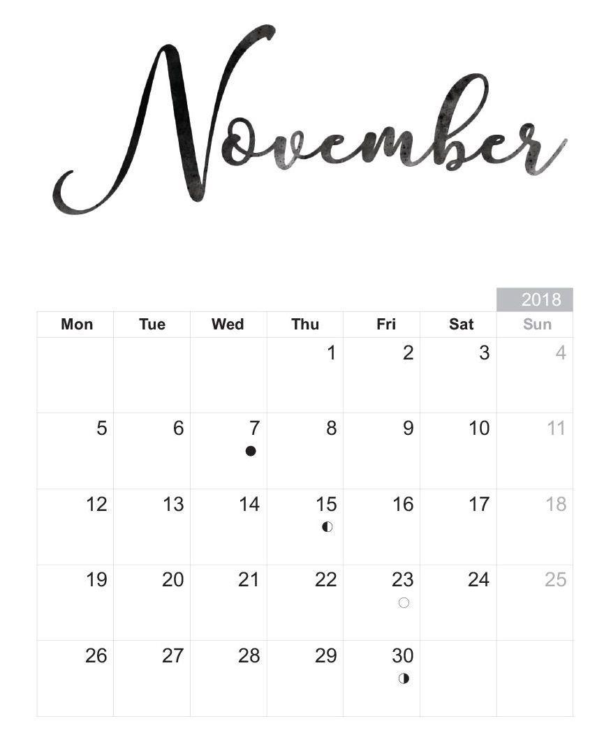 Printable November 2018 Calendar Free Download | November Calendar