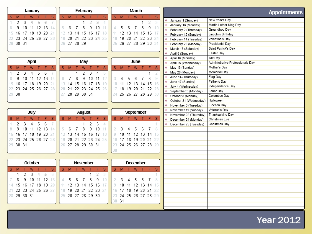Printing A Yearly Calendar With Holidays And Birthdays - Howto-Outlook