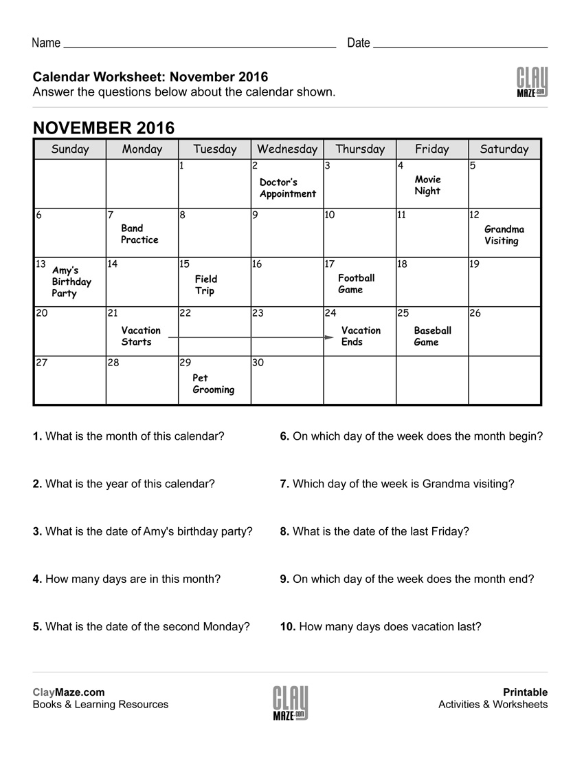 Reading A Calendar Worksheet – A | Free Printable Children's