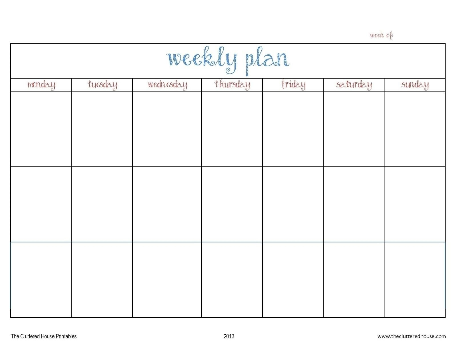 Schedule Template Print Blank Calendar Outlook Weekly Day | Smorad