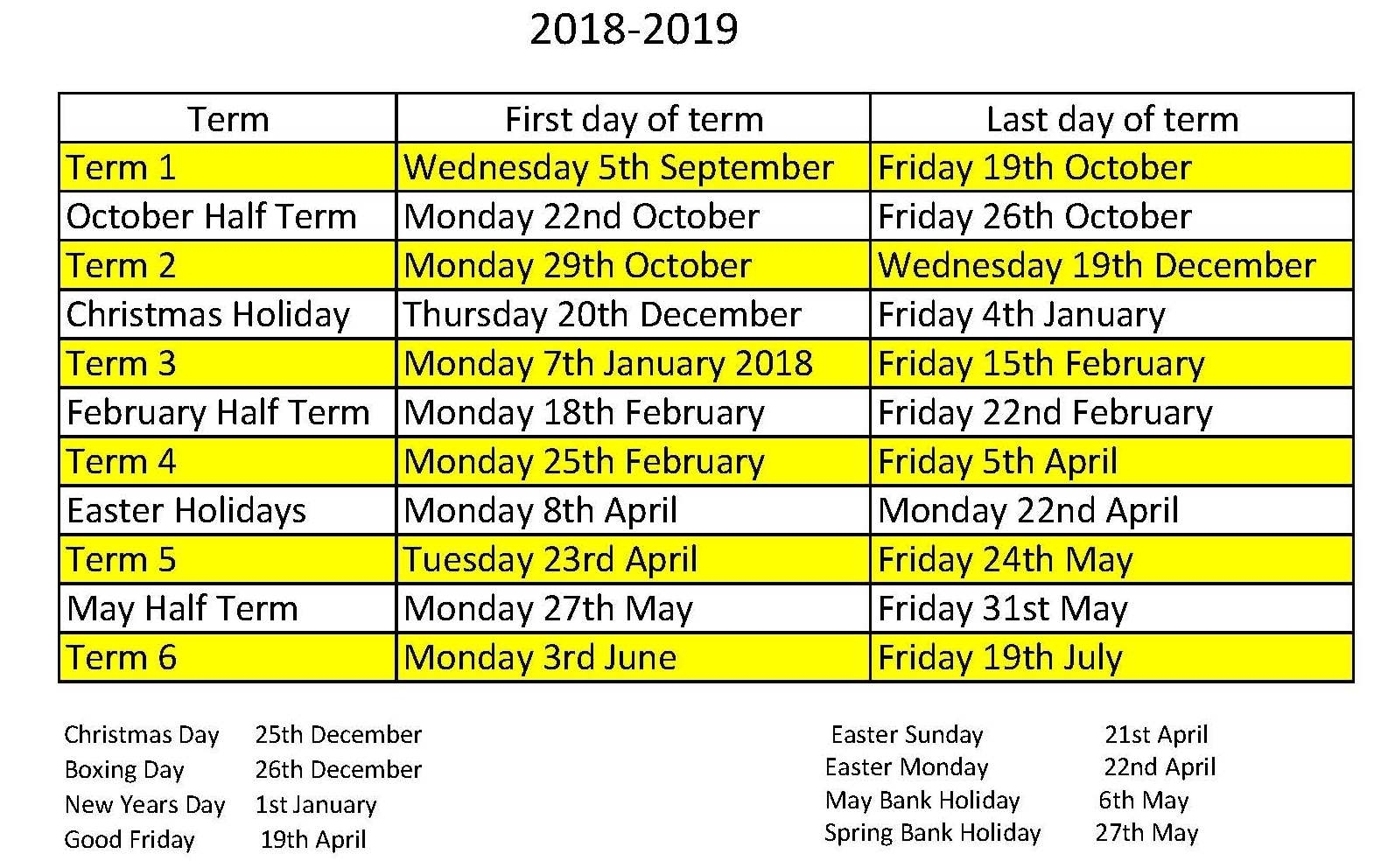 School Calendar - Oakwood Primary Academy