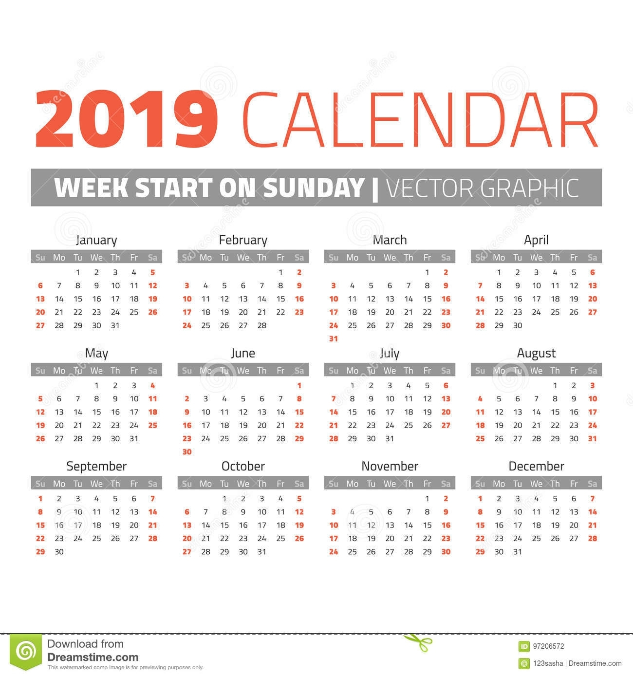 Simple 2019 Year Calendar Stock Vector. Illustration Of Date - 97206572