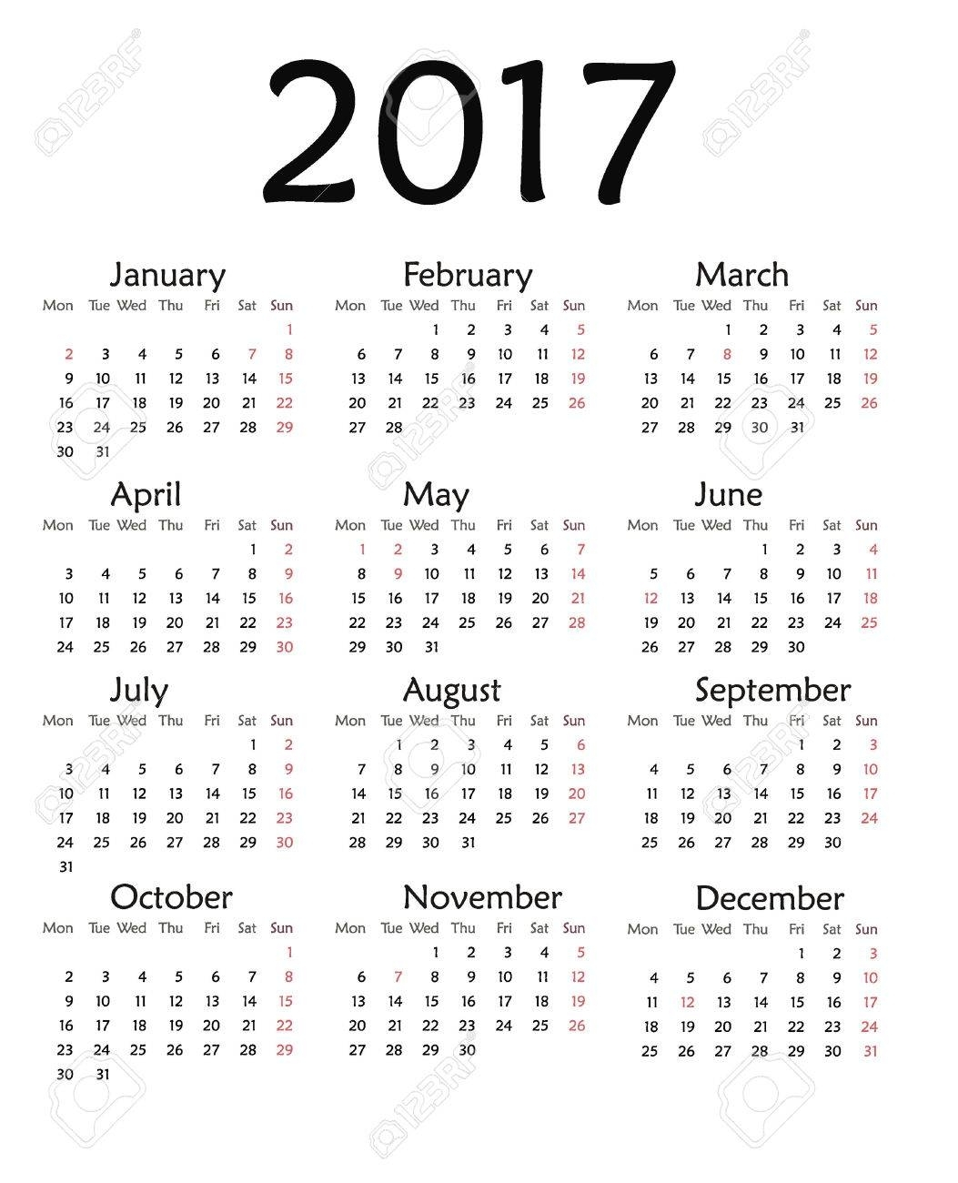 Simple Calendar For 2017. Vector Template Design Monthly Date