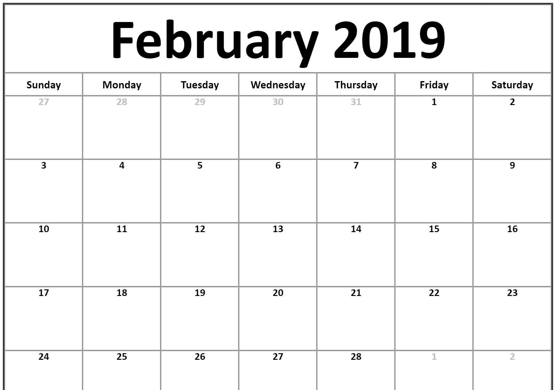 Small 2019 February Printable Calendar #landscape | February 2019