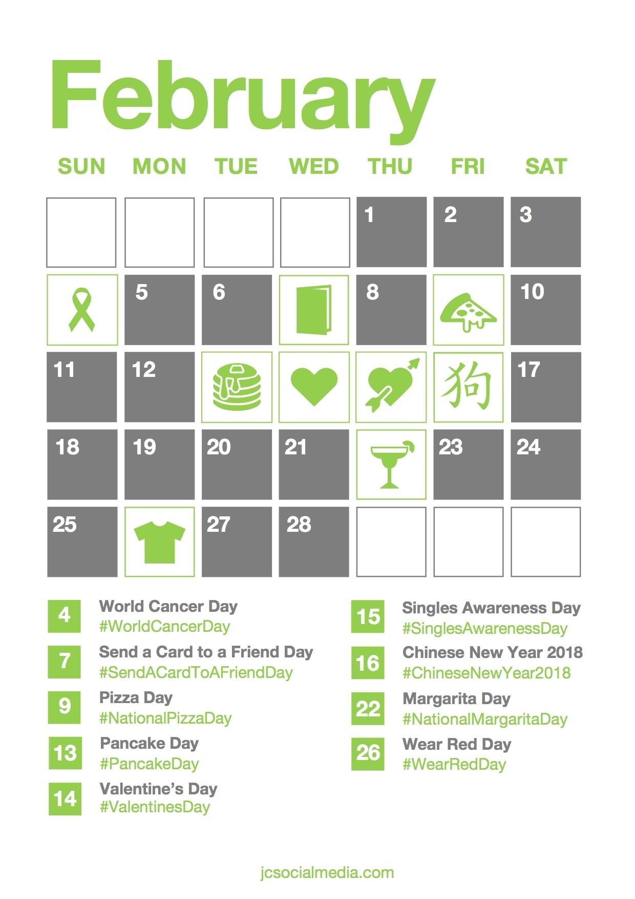 Social Media Calendar 2018   Jc Social Media - Social Media Agency