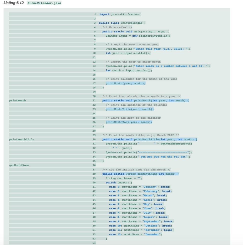 Solved: Listing 6.12 Printcalendar.java 1 Import Java.util