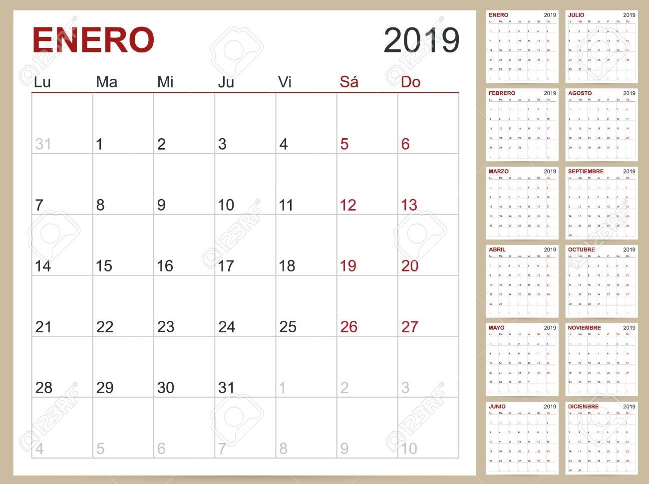 Spanish Calendar 2019 / Spanish Calendar Template For Year 2019