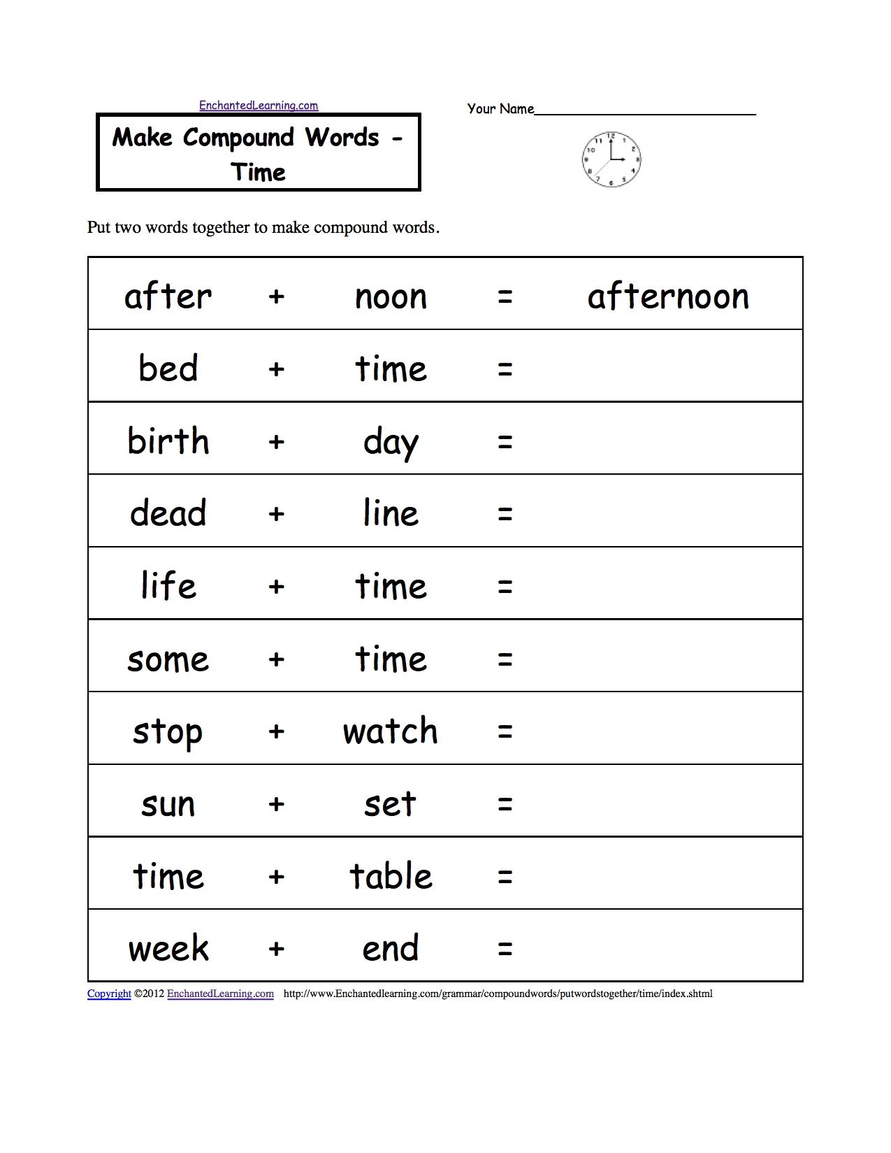 Time And Calendar Activities At Enchantedlearning