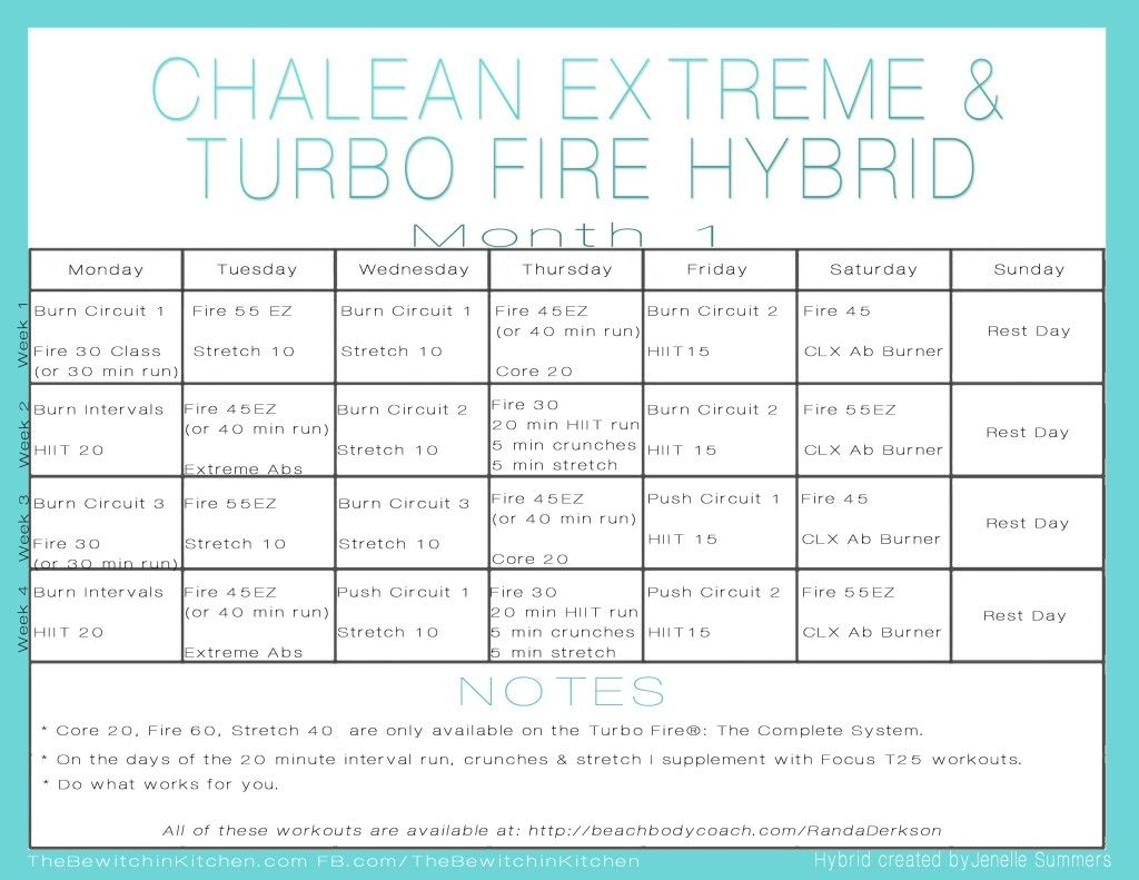 Turbo Fire Chalean Extreme Hybrid Schedulejenelle Summers