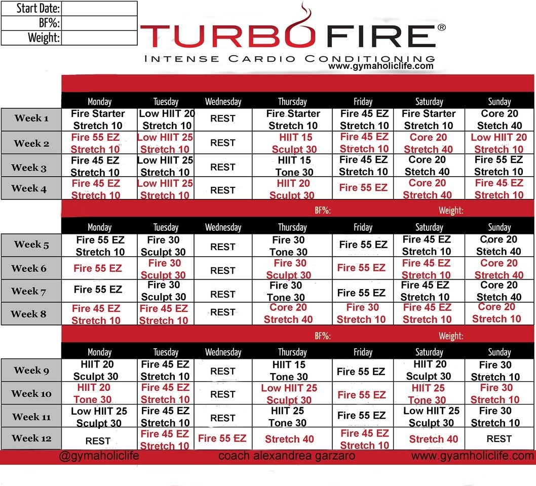 Turbo Fire Schedule | Examples And Forms