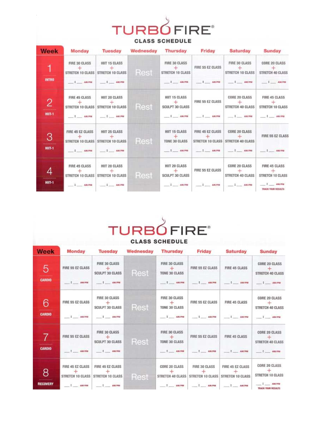 Turbofire Class Schedule: (Page 1 Of 3) Week 1-8 ~ Interested In A