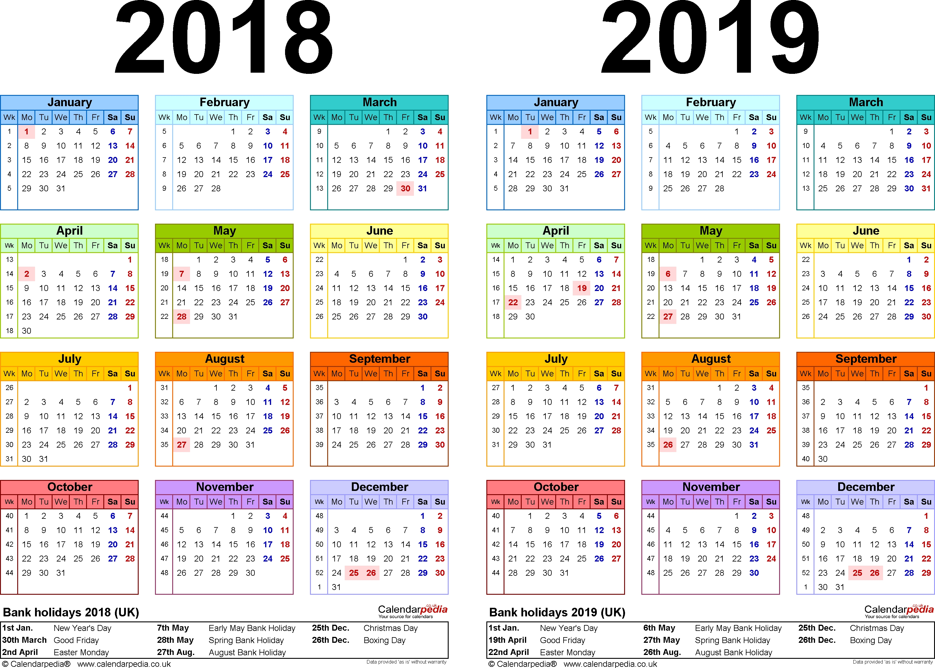 Two Year Calendars For 2018 & 2019 (Uk) For Word