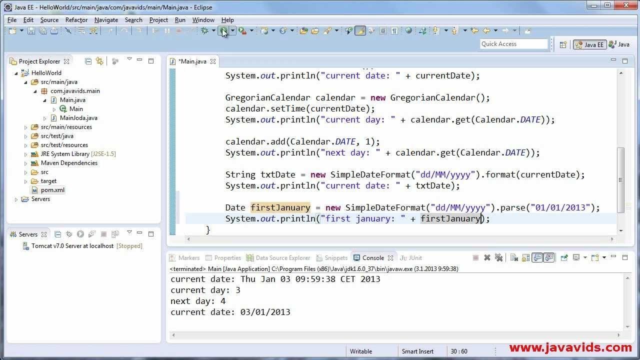Using Date, Calendar And Simpledateformat In Java : Javavids - Youtube