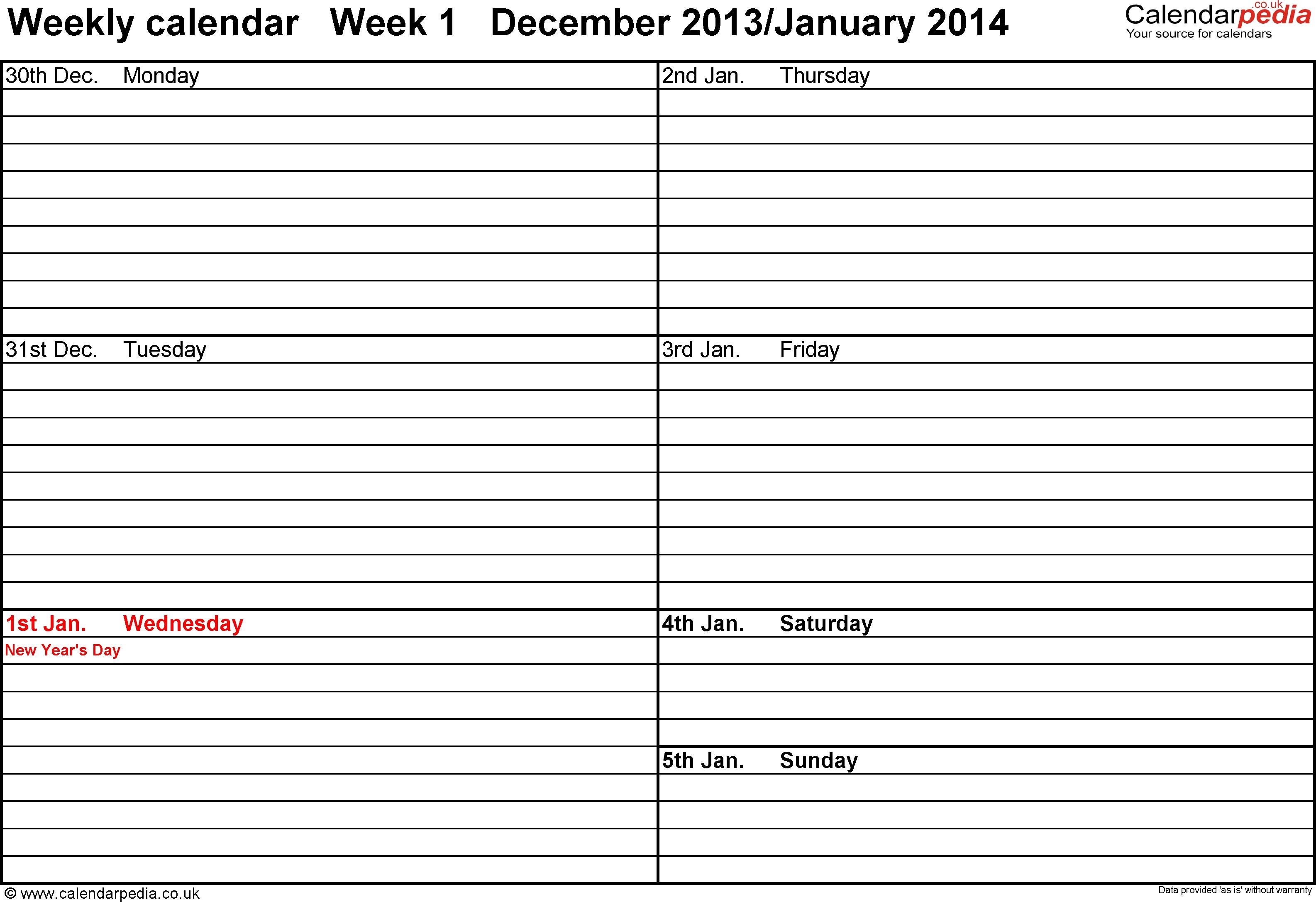 Week Schedule Template Weekly Calendar Uk Free Printable Templates