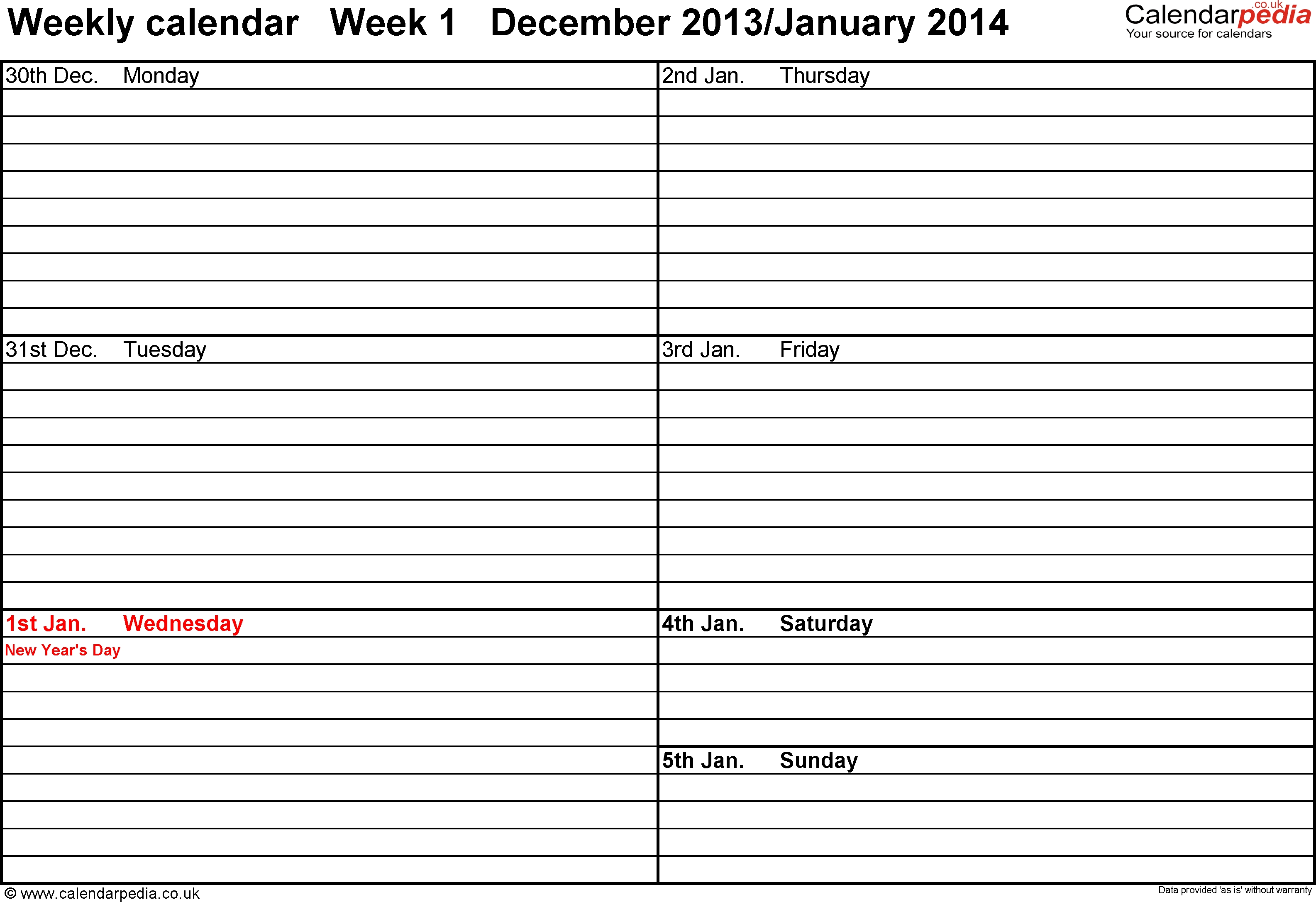 Week Schedule Template Weekly Calendar Uk Free Printable Templates