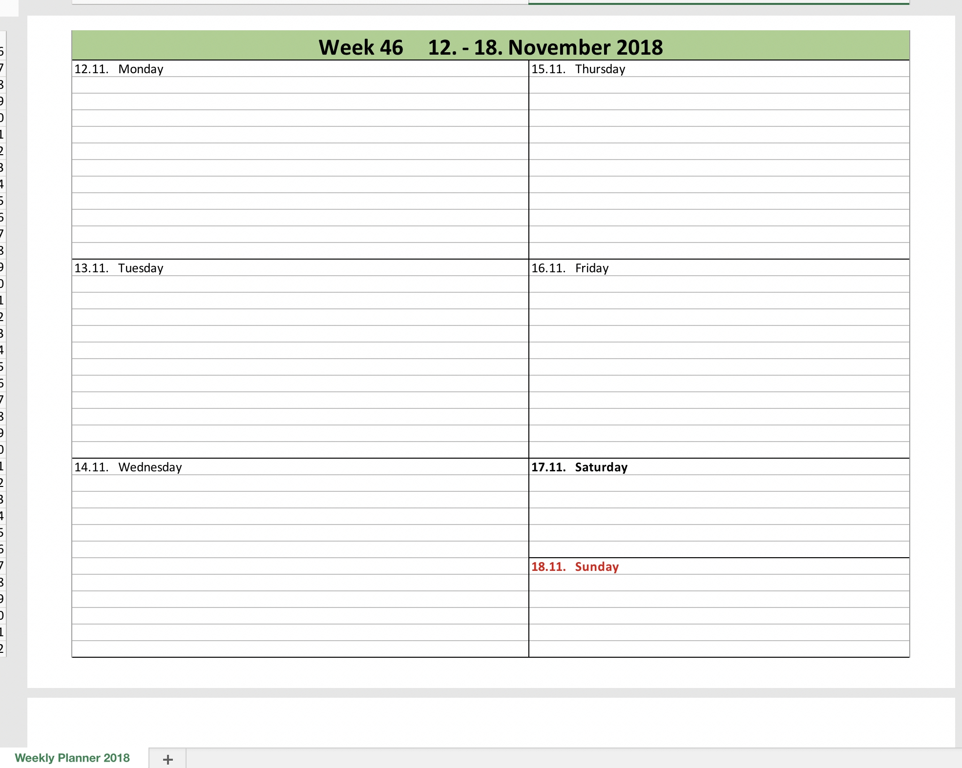 Weekly Calendar 2018 With Excel | Excel Templates For Every Purpose