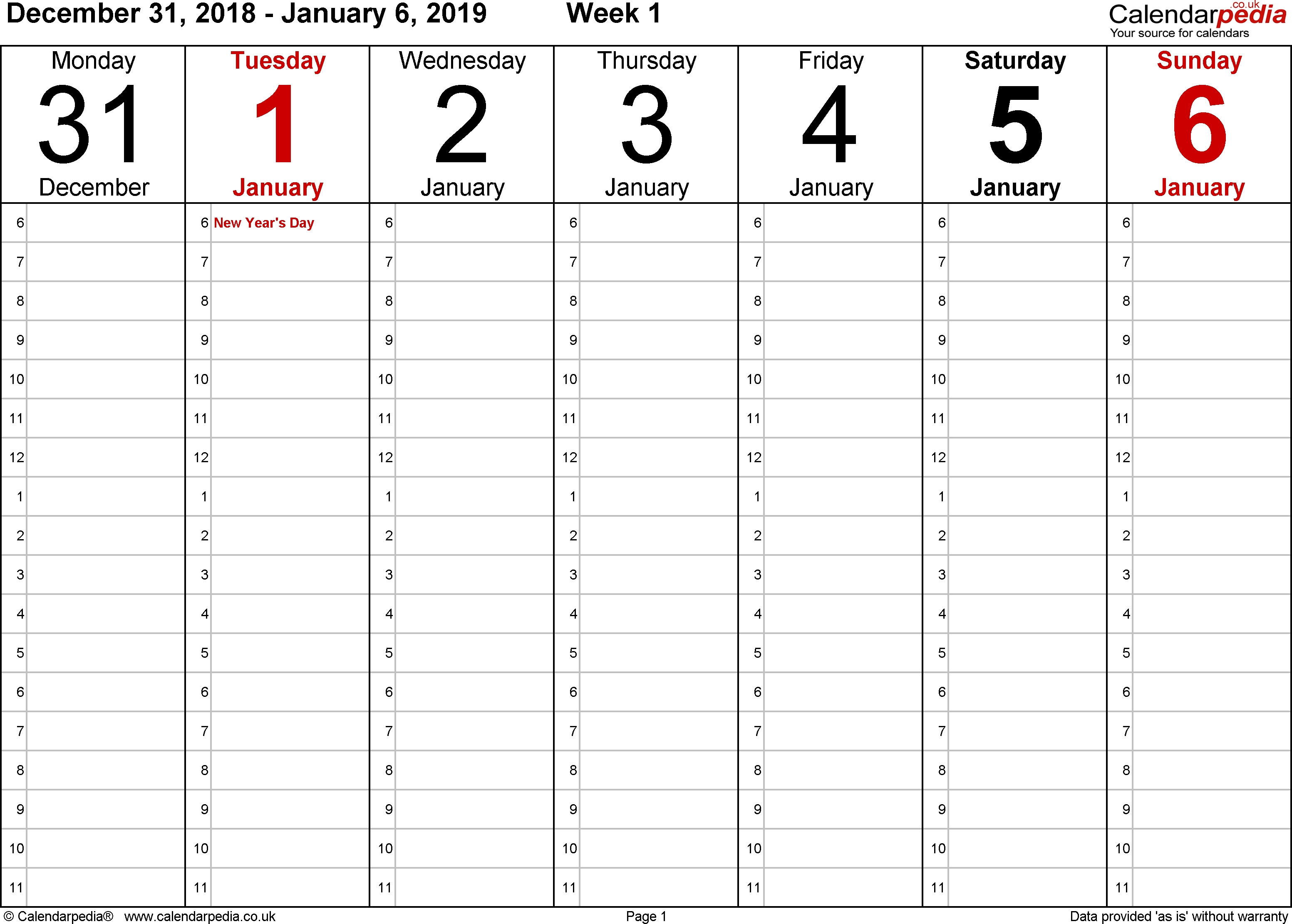 Weekly Calendar 2019 Uk - Free Printable Templates For Word