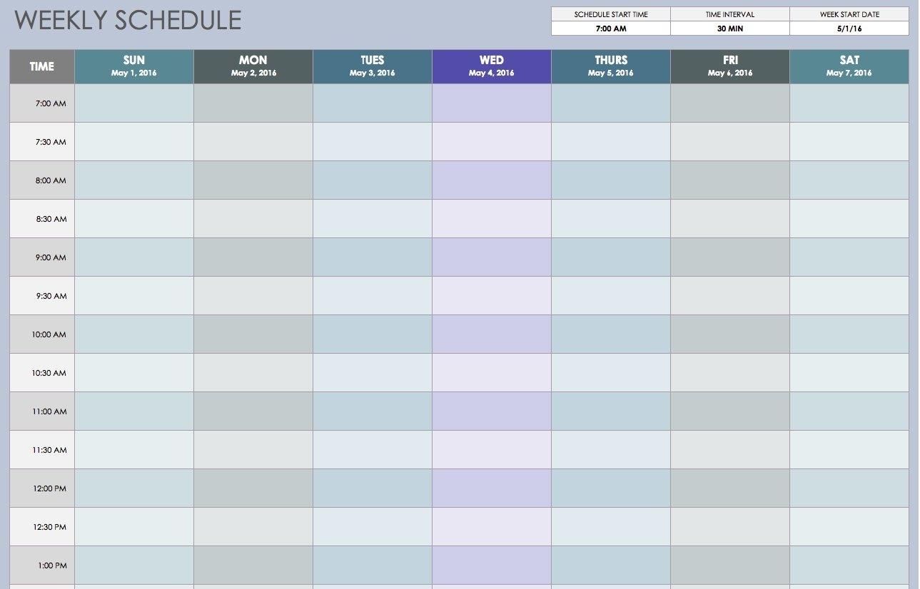 Weekly Lendar Excel Schedule Template Formula Download Week Number