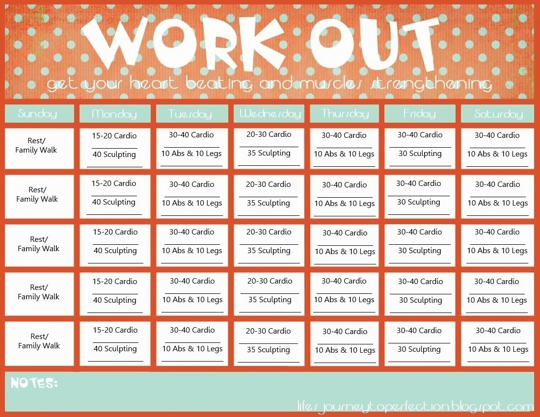 Free Printable Exercise Calendar   Ten Free Printable ...