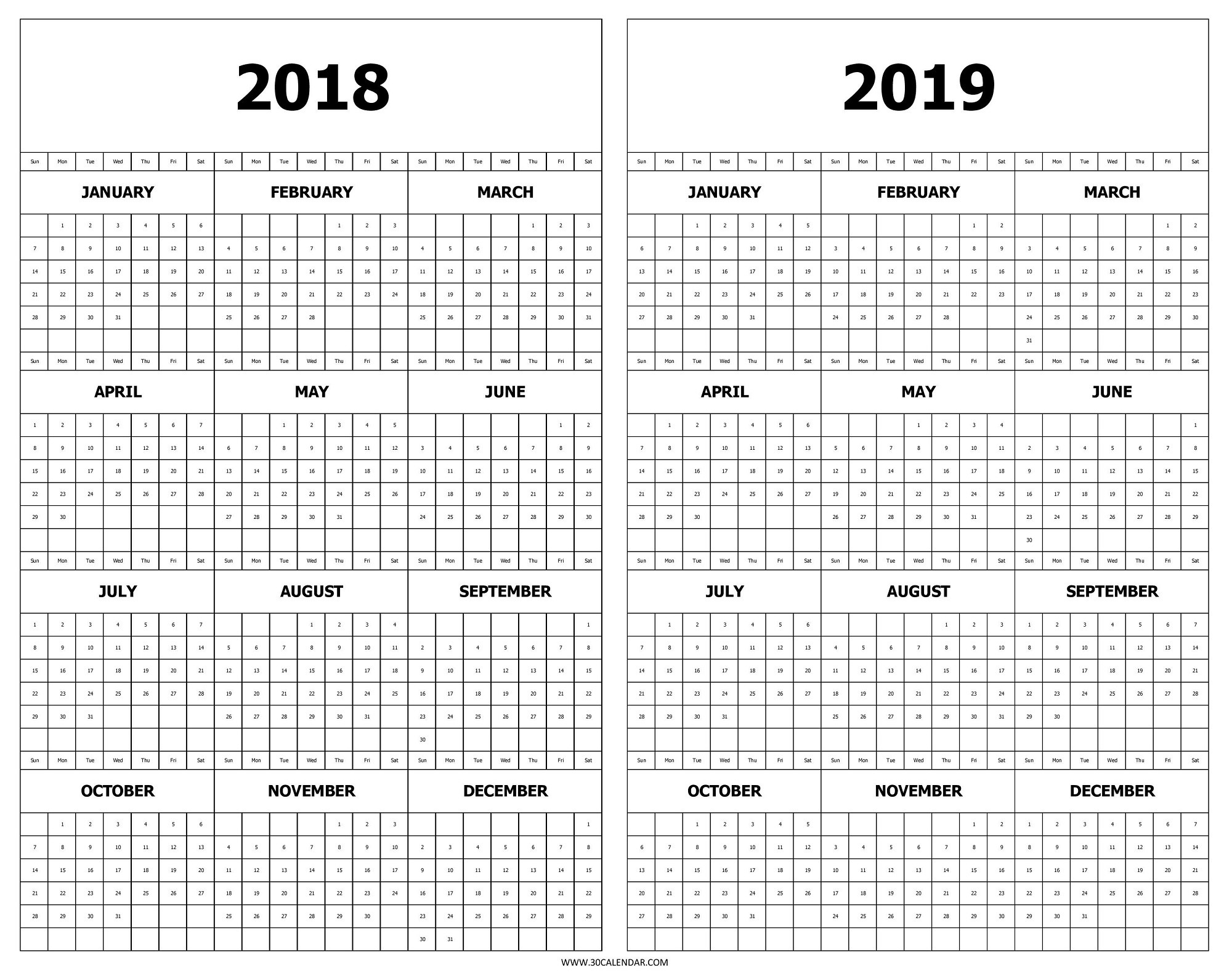 Year At A Glance Printable Calendar 2019 Calendar 2018 And 2019