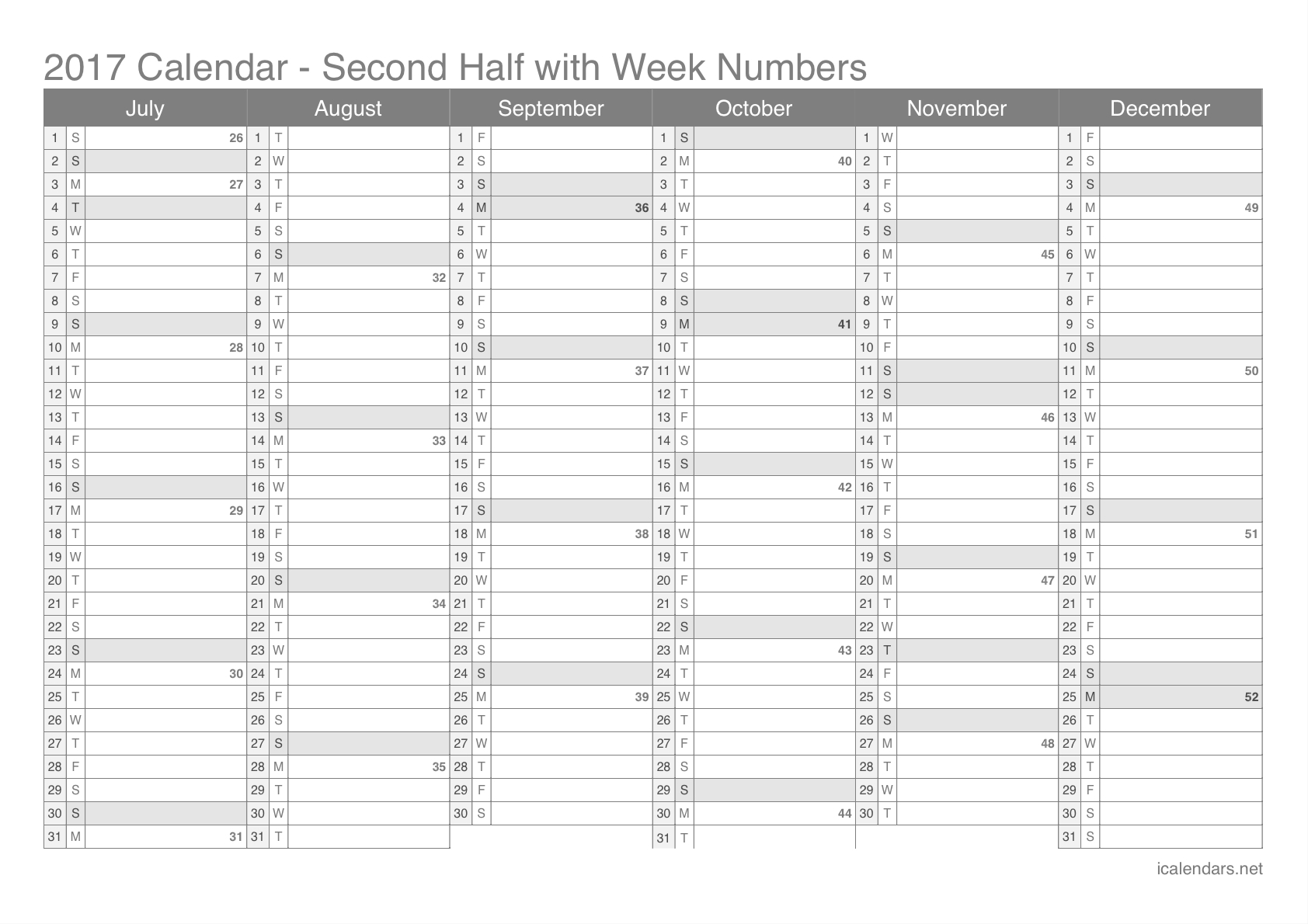 Yearly Calendarweek | Printable Calendar Yearly