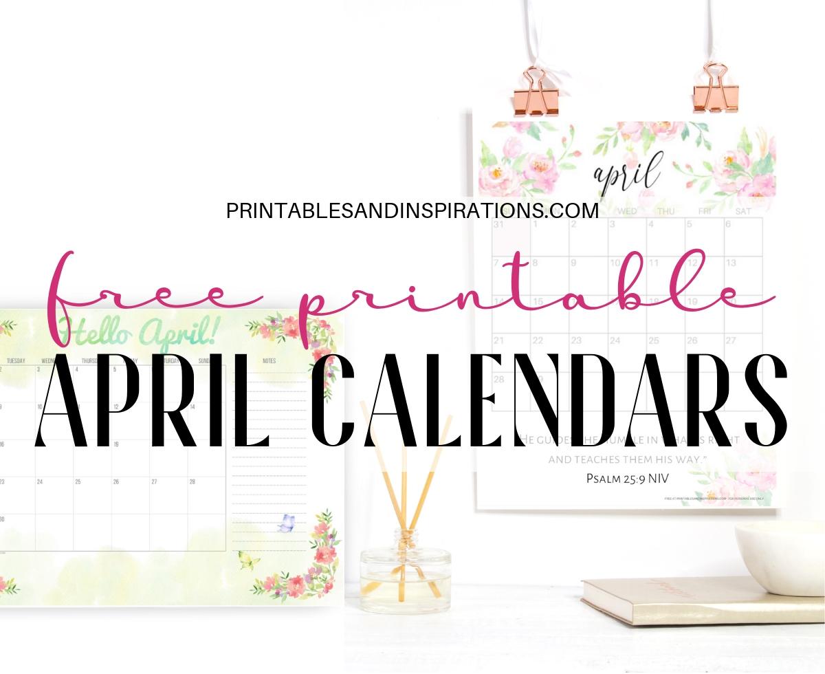 Your Free Printable April 2019 Calendar! - Printables And Inspirations