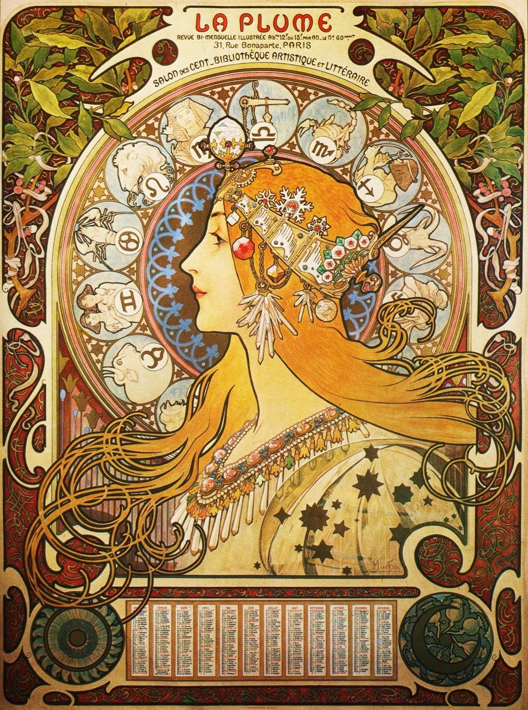 "Zodiac. Calendar For The Magazine ""pen"". Francealfons Mucha"