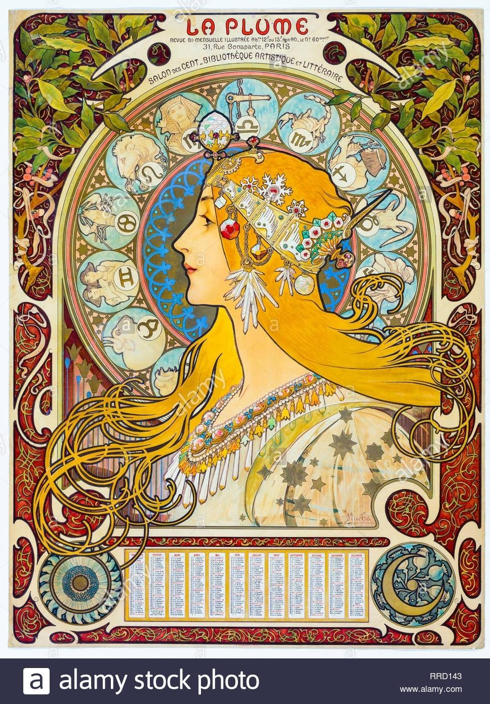 Zodiac (La Plume) 1896-1897, Alphonse Mucha, Art Nouveau, Calendar