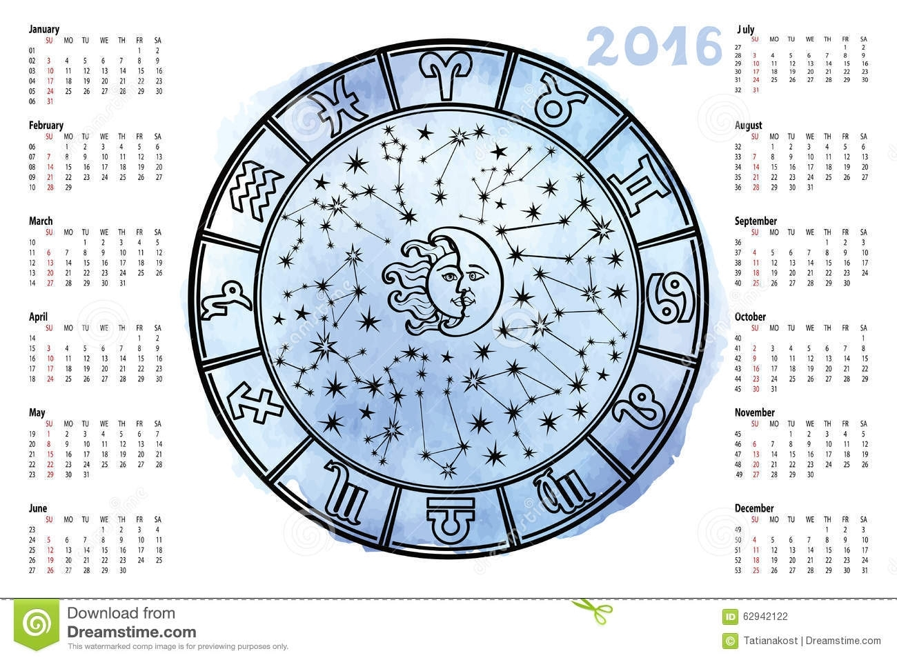 Zodiac Sign,horoscope Circle.2016 Year Stock Vector - Illustration