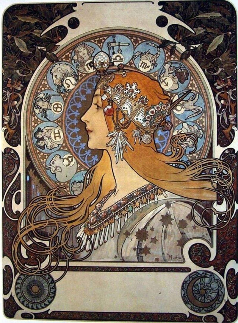 Zodiacalphonse Mucha - Description Of The Painting