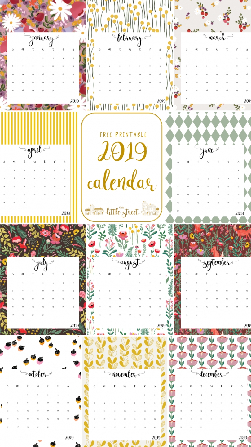 20 Free Printable Calendars For 2019 - Yesmissy