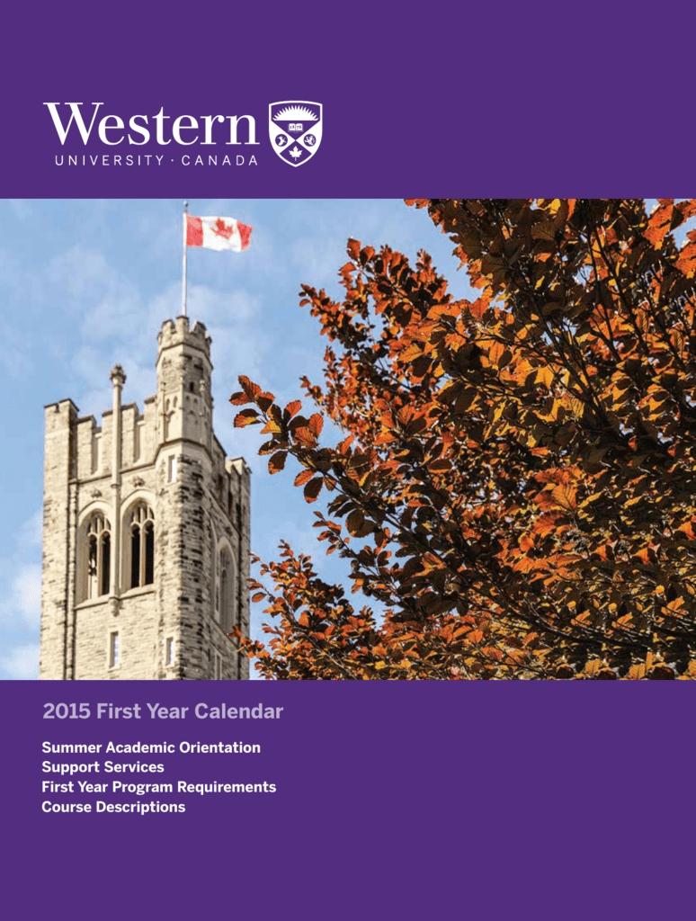2015 First Year Calendar - Academic Calendar