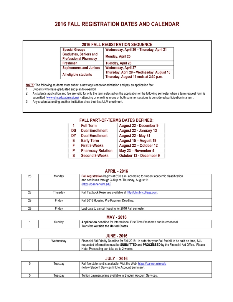 2016 Fall Registration Dates And Calendar 2016 Fall