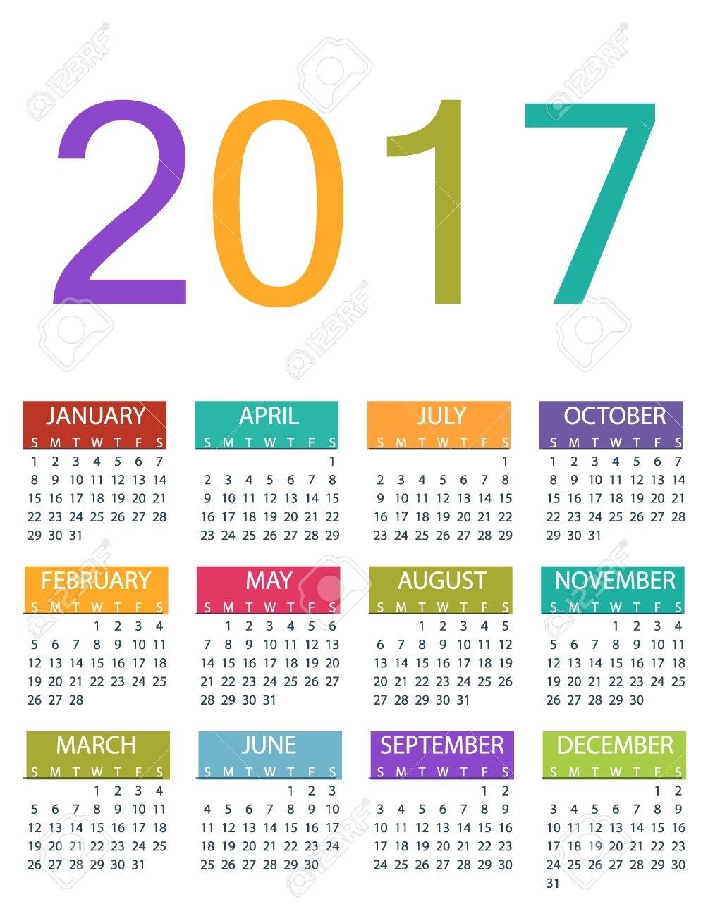 2017 Calendar Planner Design. Vector Template Design Monthly..